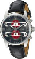 Lucien Piccard Men's 'Bosphorus' Quartz Stainless Steel and Leather Casual Watch, Black (Model: LP-40045-014-RDA)