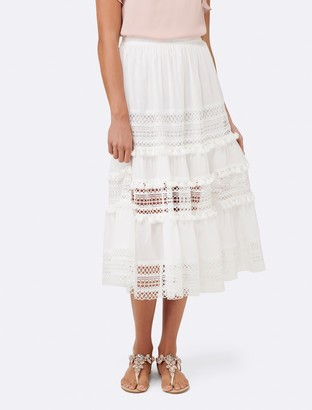Forever New Courtney Lace Paneled Skirt - White - 4