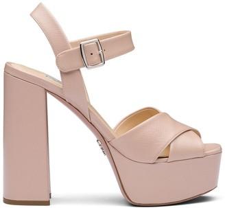 Prada Saffiano platform sandals