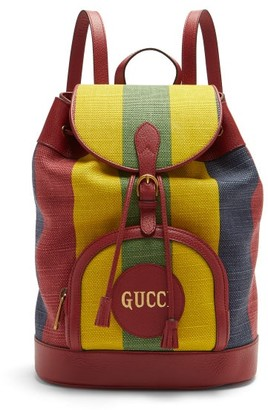 Gucci Baiadera-striped Drawstring-top Canvas Backpack - Multi