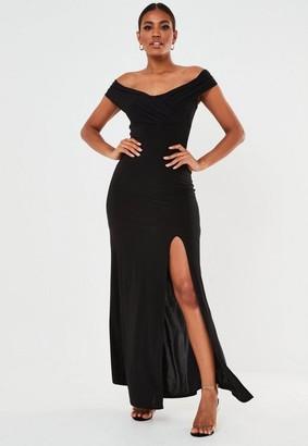 Missguided Black Bardot Wrap Slit Maxi Dress