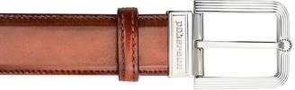 Pakerson Fiesole Wood Italian Leather Belt w/ Silver Buckle