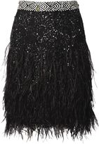 Matthew Williamson Black Lattice Lace Feather Embroidered Skirt