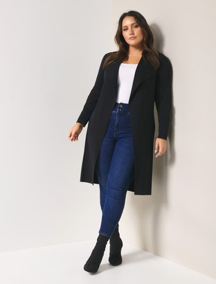 Forever New Lucy Curve Panelled Long Cardigan - Black - 16