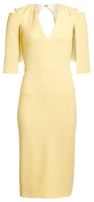 Roland Mouret Queensbury Cape-Sleeve Sheath Dress