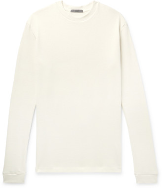 Billy Distressed Thermal Waffle-Knit Sweatshirt