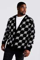 BoohoomanBoohooMAN Mens Black Big & Tall Gothic M All Over Knitted Cardigan, Black