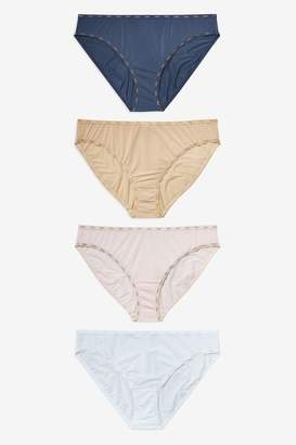 Next Womens Navy/Pink/Nude High Leg Microfibre Logo Knickers Four Pack - Blue