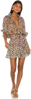 Juliet Dunn Cotton Tie Dye Leopard Dress