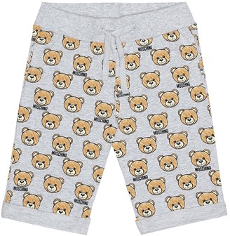 MOSCHINO BAMBINO Printed stretch cotton shorts