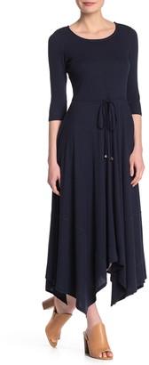 Superfoxx Ribbed Handkerchief Hem 3/4 Sleeve Maxi Dress