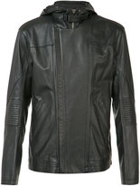 Helmut Lang hooded leather jacket - men - Cotton/Leather/Viscose - XS