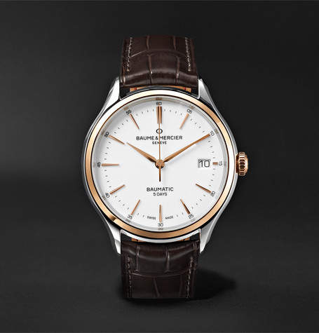 Baume & Mercier Clifton Baumatic 40mm Stainless Steel And Alligator Watch
