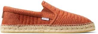 Jimmy Choo VLAD Rust Croc Printed Nubuck Espadrilles