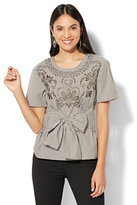 New York & Co. 7th Avenue - Madison Stretch Shirt - Embroidered - Metallic Stripe