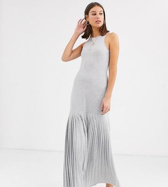 Asos Tall ASOS DESIGN Tall grey marl pleated hem maxi dress
