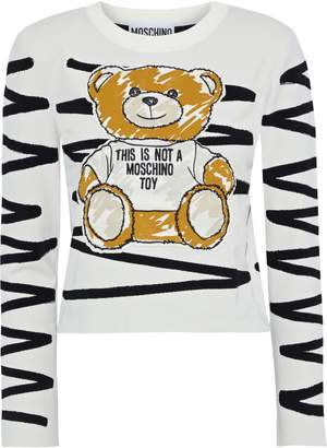 Moschino Cropped Appliqued Jacquard Sweater
