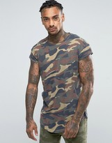 ONLY & SONS Longline T-Shirt With Curved Hem And Cap Sleeve In Camo