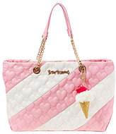 Betsey Johnson Split Decision Heart-Quilted Striped Tote