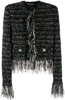 Balmain Frayed Edges Tweed Jacket