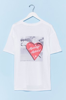 Nasty Gal Womens Marriage Material Graphic Tee - White