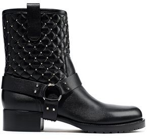 Valentino Rockstud Quilted Leather Ankle Boots