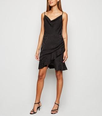 New Look Satin Tiger Jacquard Cowl Neck Dress