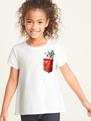Old Navy Christmas Kitty Flip-Sequin Graphic Tee for Girls