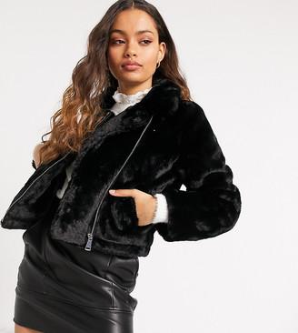 Vero Moda Petite faux-fur biker jacket in black