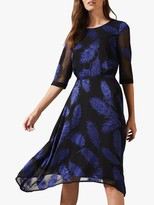 Phase Eight Devoure Feather Print Dress, Cobalt