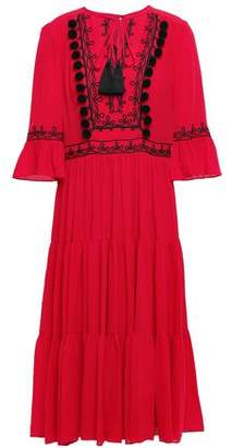 Kate Spade Embellished Gathered Crepe Midi Dress