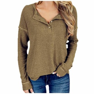 ReooLy Women's Henley Shirts Button Down Tops