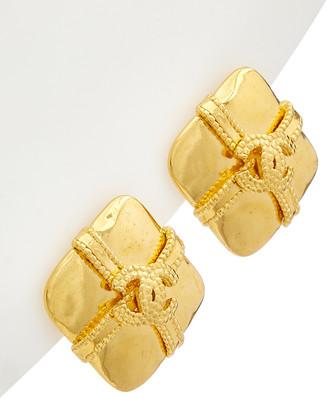 Chanel Gold-Tone Cc Diamond-Shaped Earrings