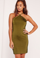 Missguided Petite Khaki Halter Neck Mini Dress