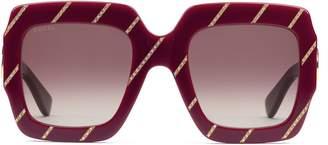 Gucci Crystal striped square sunglasses