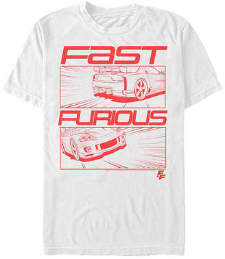 Fifth Sun Fast And Furious Comic Race Car Mens Crew Neck Short Sleeve Graphic T-Shirt