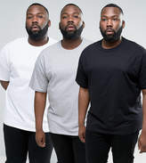 Asos PLUS 3 Pack Oversized T-Shirt with Crew Neck SAVE