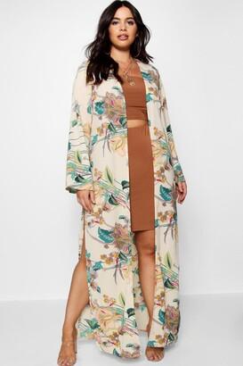 boohoo Plus Paisley Floral Longline Kimono