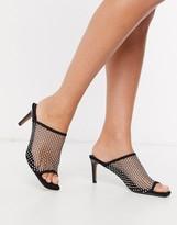 Asos Design DESIGN Harmony embellished mesh mid-heeled sandals in black