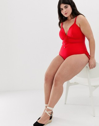 Lost Ink plus size ruched detail swimsuit