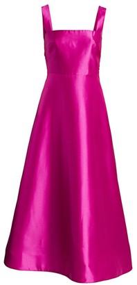 ML Monique Lhuillier Bow Back Fit-&-Flare Satin Dress