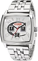 Just Cavalli Men's Watch R7253625015 In Collection Screen, Multifunction, Silver White Dial and Stainless Steel Bracelet