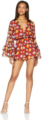The Fifth Label Women's Unite V Neck Cross Over Bodice Ruffle Long Sleeve Playsuit