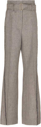 Peter Pilotto Belted Striped Tweed Wide-Leg Pants
