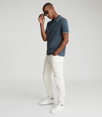 Reiss JACOB MERCERISED COTTON ZIP NECK POLO Airforce Blue