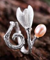 Lotus Fun Women's Rings Pink - Pink Pearl & Sterling Silver Swirled Flower Adjustable Ring