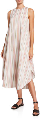 Loro Piana Nadine Striped Cotton Flowy Shift Dress
