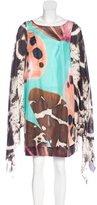 Blumarine Silk Bell Sleeve Dress