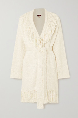 Alanui Pool Party Belted Fringed Silk-boucle Cardigan - White