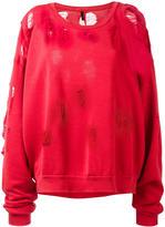 Unravel Project - distressed sweatshirt - women - Cotton/Spandex/Elastane - S